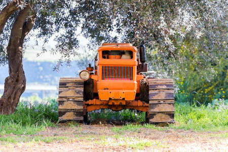 Front view of an old tractor in Sicily