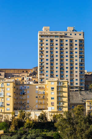 unauthorized: Tolli of Agrigento. Tall buildings symbol of unauthorized construction Stock Photo