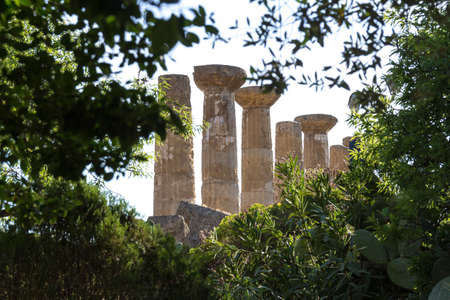valley of the temples: Temple of Hercules or Heracles. Valley of Temples Agrigento Stock Photo