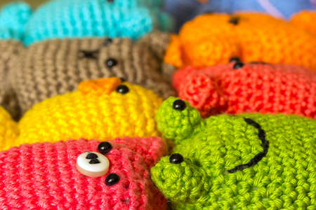 Various handmade Amigurumi crocheted or knitted stuffed toy Imagens - 45792204