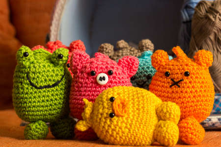 Various handmade Amigurumi crocheted or knitted stuffed toy Imagens