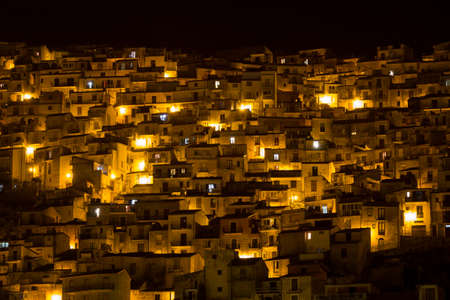View on sicilian houses at night. Town of Cammarata, near Agrigento