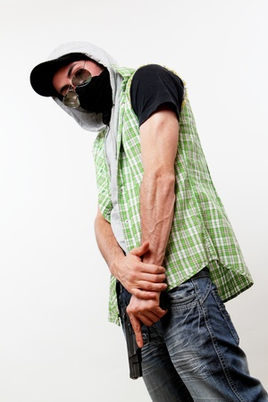 raged: dangerous component armed with a street gang Stock Photo