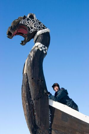 The ancient ship of vikings in Vyborg