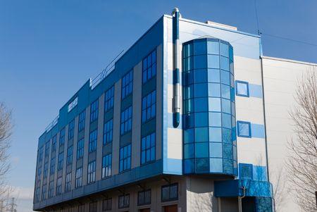 Modern office building in blue tones Banque d'images