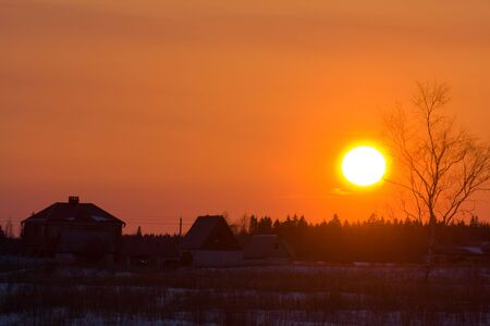 Sunset in a countryside village in Russia Stock Photo - 2856063