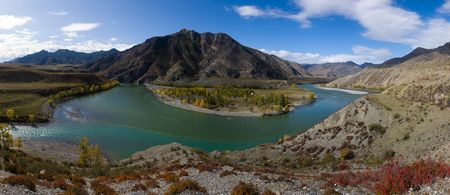 Panorama confluence of the rivers Katun and Chuya, Altai Stock Photo - 5648811