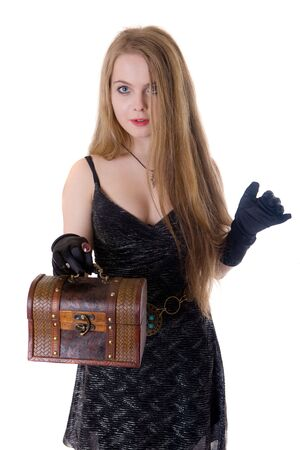 The girl with a wooden trunk in hands Stock Photo - 6098385