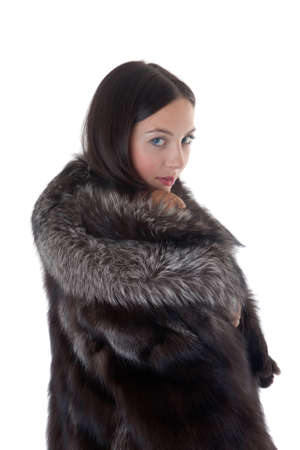 Portrait of the girl in a fur coat Stock Photo - 9429104