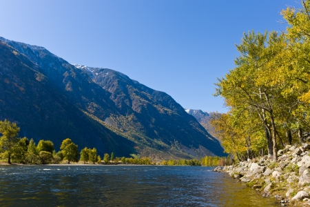 mountain landscape in a valley of the river Chulyshman Stock Photo - 13801711