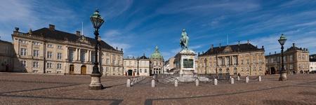 panorama square of the Royal palace Amalienborg, Denmark, Copenhagen