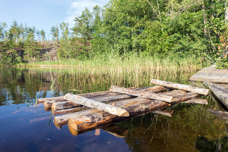 wooden raft near the shore of a forest lake