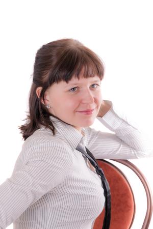 portrait of smiling girl on white background