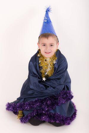 portrait of a boy in wizard clothes 版權商用圖片