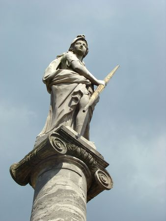stella in honour of the Russian empress Ekaterina Second Great in ancient manor Sheremetev Kuskovos column in Moscow  photo