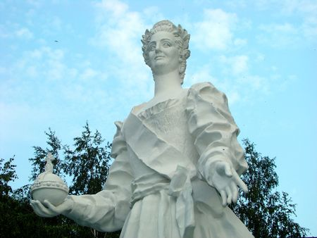 Sculpture of Russian empress Ekatherine the Great in park of central house artists photo