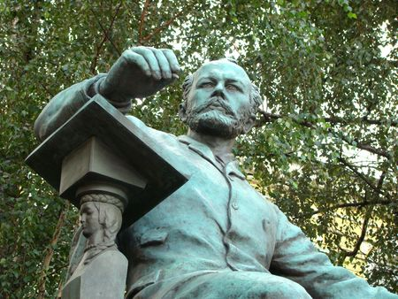 composer:  Monument to composer Peter Tchaikovsky before an input in the Big hall of the Moscow conservatory. A fragment
