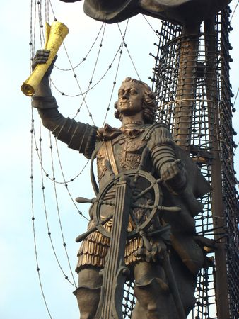 peter the great: Monument to the Russian emperor Peter Great on Moscow River
