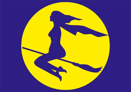 silhouette of witch flying on a broom on a background Moon
