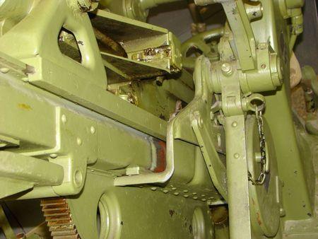 artillery shell: The artillery piece mechanism close up