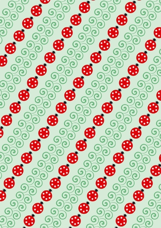 chlorophyll: Background from green blades and ladybirds