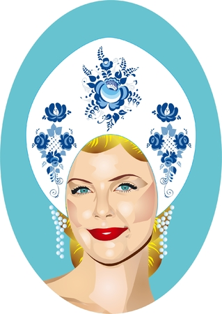 kokoshnik: The Russian beauty in a kokoshnik decorated with Gzhel