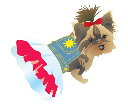 Dog a terrier in a dress and with a bow