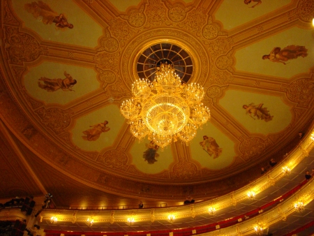 chandelier famous Bolshoi Theatre in Moscow