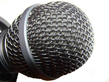 current account: microphone - electroacoustic instrument sound vibrations into electrical current Stock Photo