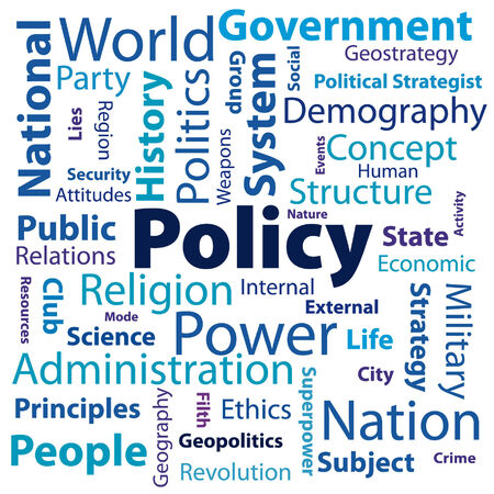 the concept of  policy  and many of his words describing Stock Vector - 27564343