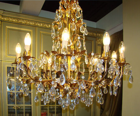 vintage chandelier: luxury vintage chandelier with glass pendants and gold