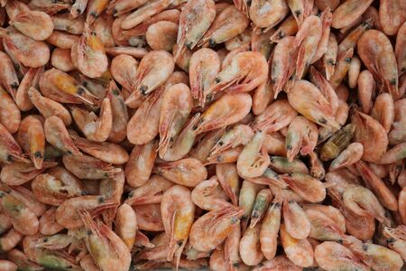 decapod: Frozen shrimp in bulk in the refrigerator