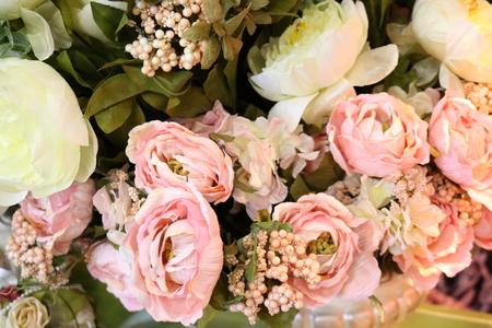 plastik: pink artificial flowers - Interior decoration Stock Photo