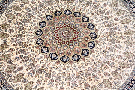 floor covering: oriental carpet with circular pattern
