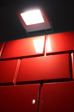 Red tiled glossy surface