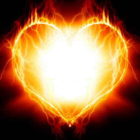 heartache: Heart on fire Stock Photo