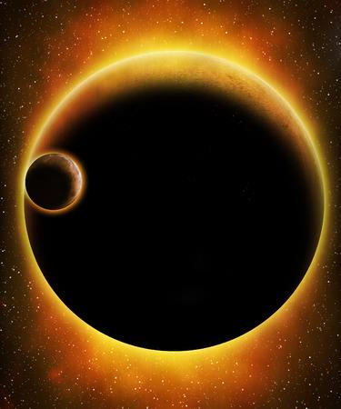 expanding: Glowing alien planet in space
