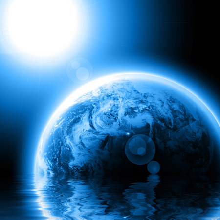 Blue planet earth with sun reflected in water Stock Photo - 1726842