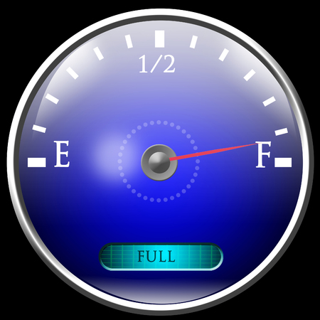 gage: Almost full gas tank Stock Photo