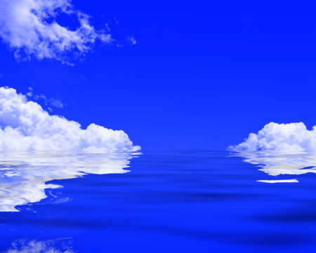 peacefull: Clouds reflected in a blue ocean