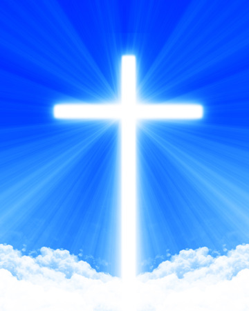 cross light: Bright glowing cross in the clouds Stock Photo