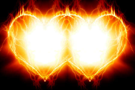 heart burn: Double burning hearts Stock Photo