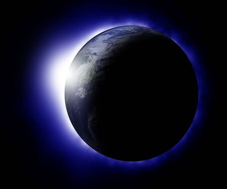 orbital: Rising sun behind planet earth Stock Photo
