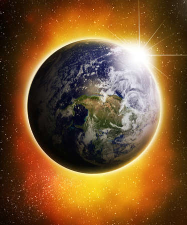 earthlike: Glowing earth in outer space