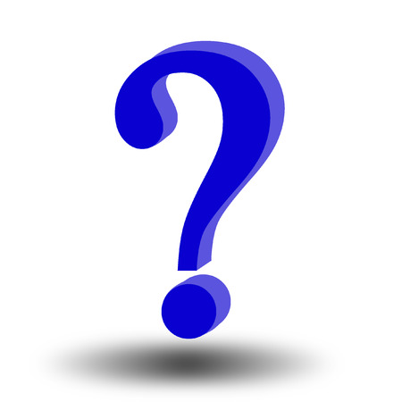 think tank: 3d question mark on white background
