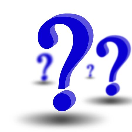 think tank: 3d question marks on white background