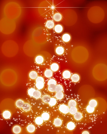 formed: Abstract christmas tree formed by blurred lights Stock Photo