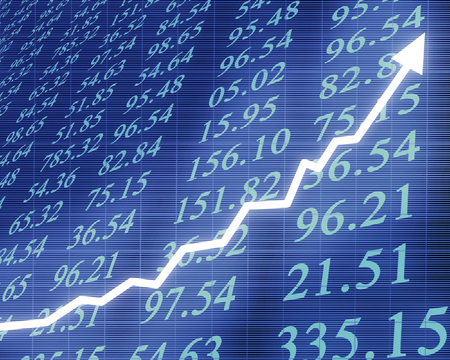 Electronic stock numbers with graph photo