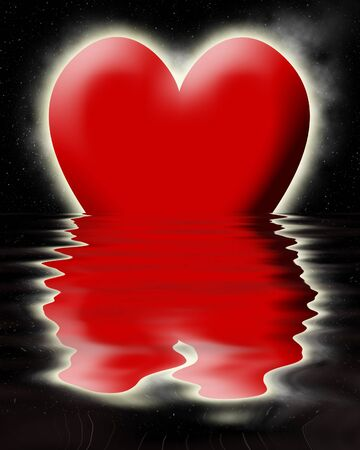 peacefull: Red heart sinking in the ocean
