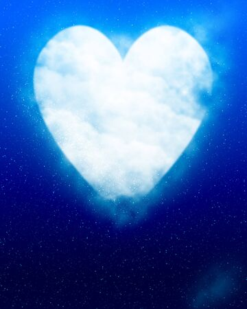 heartache: Heart shaped moon in blue sky Stock Photo